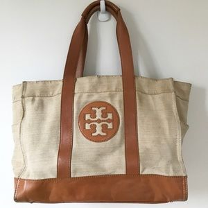 Large Tory Burch Linen Canvas Tote with Leather